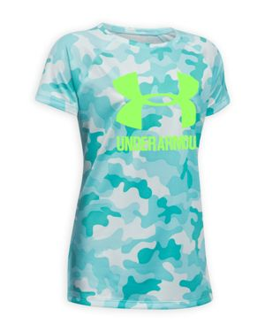 Under Armour Girls' Big Logo Camouflage-Print Tech Tee - Big Kid