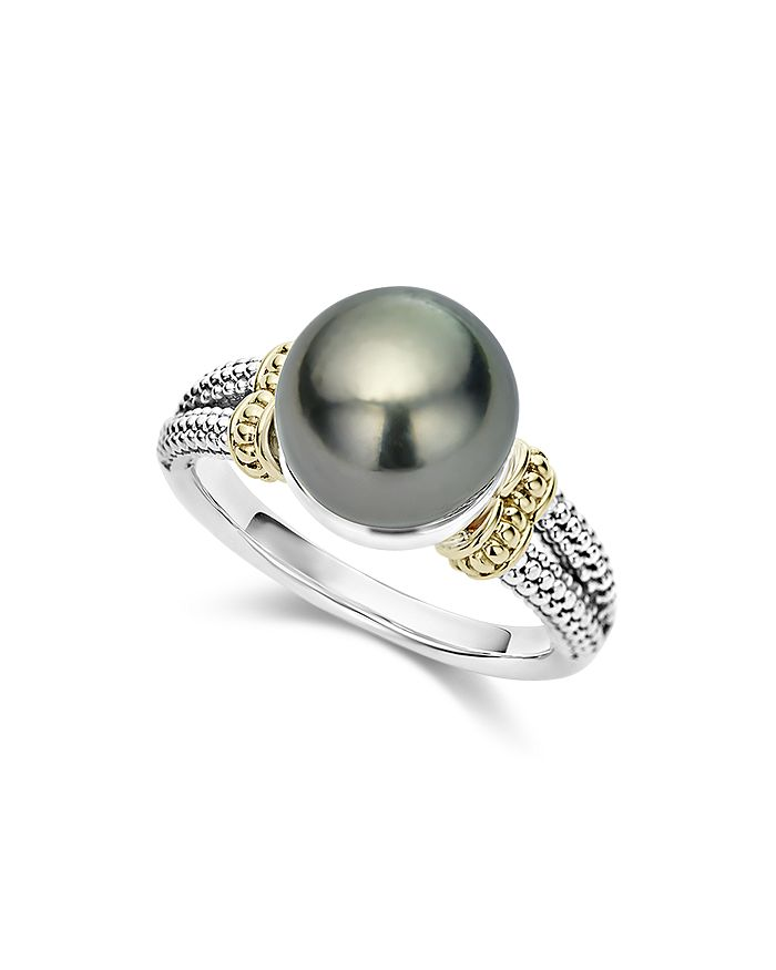 LAGOS - 18K Gold and Sterling Silver Luna Cultured Tahitian Pearl Ring