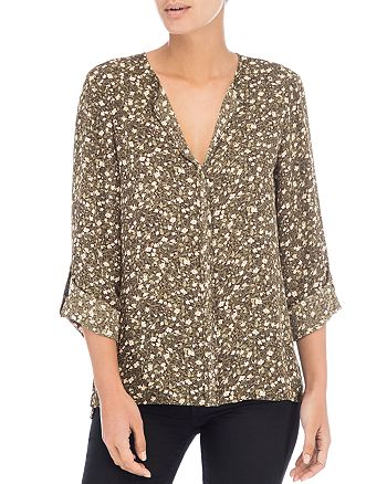 B Collection by Bobeau - Floral Roll-Sleeve Blouse