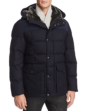 Cole Haan Flannel Down Hooded Jacket