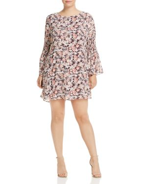 B Collection by Bobeau Curvy Jude Bell Sleeve Floral Print Dress