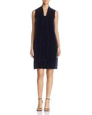Lafayette 148 New York Ronan Tie Neck Velvet Shift Dress