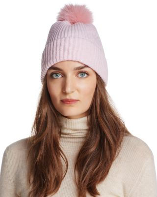 RAFFAELLO BETTINI Fox Fur & Cashmere Ribbed Pom-Pom Beanie - 100% Exclusive in Pink