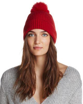 RAFFAELLO BETTINI Fox Fur & Cashmere Ribbed Pom-Pom Beanie - 100% Exclusive in Red