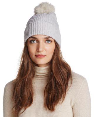 RAFFAELLO BETTINI Fox Fur & Cashmere Ribbed Pom-Pom Beanie - 100% Exclusive in Gray