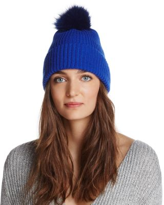 RAFFAELLO BETTINI Fox Fur & Cashmere Ribbed Pom-Pom Beanie - 100% Exclusive in Cobalt