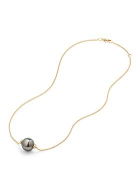 David Yurman - Solari Single Station Necklace in 18K Gold with Diamonds and Tahitian Gray Pearl