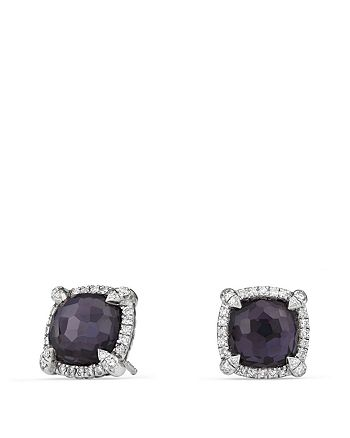 David Yurman - Châtelaine Pavé Bezel Earrings with Black Orchid and Diamonds
