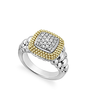 Lagos 18K Gold and Sterling Silver Diamond Lux Square Ring-Jewelry & Accessories