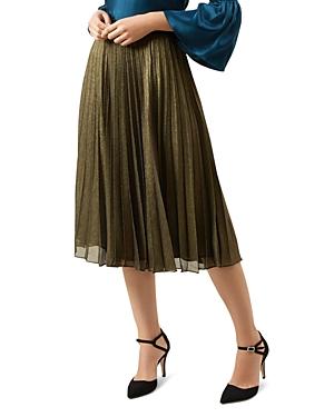 Hobbs London Laila Pleated Metallic Skirt - 100% Exclusive