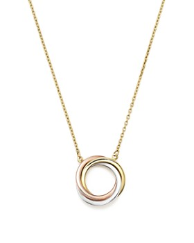 "Bloomingdale's - 14K Rose, Yellow and White Gold Ring Pendant Necklace, 18"" - 100% Exclusive"