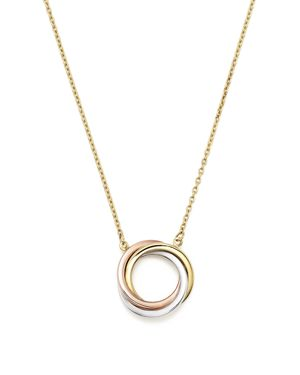14K Rose, Yellow and White Gold Ring Pendant Necklace, 18 - 100% Exclusive