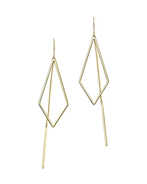 14K Yellow Gold Geometric Cutout and Chain Drop Earrings - 100% Exclusive