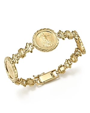 14K Yellow Gold Three Coin Bracelet - 100% Exclusive