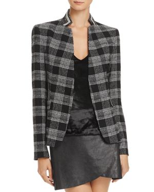 Alice + Olivia Harris Embroidered-Back Plaid Blazer