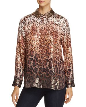 Elie Tahari Martha Printed Metallic Silk Blouse
