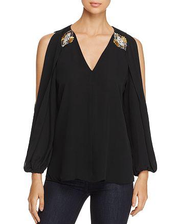 Kobi Halperin - Embellished Cold Shoulder Silk Blouse