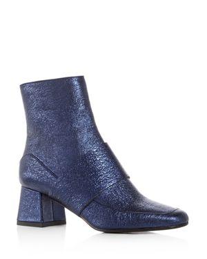 Aska Goldie Metallic Block Heel Booties