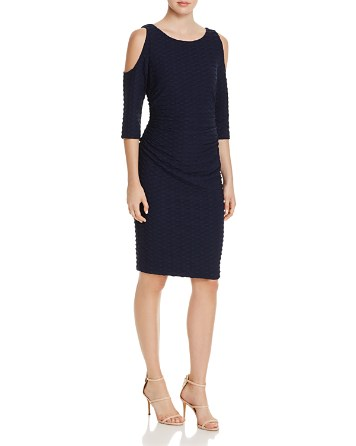 $Adrianna Papell Wavy Textured Cold-Shoulder Dress - Bloomingdale's