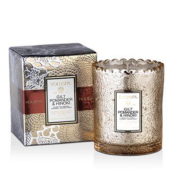 Voluspa - Gilt Pomander & Hinoki Holiday Boxed Scalloped Candlepot
