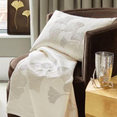 Ginkgo Leaf Embroidered Throw