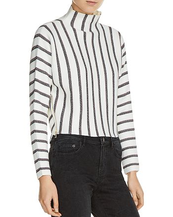 Maje - Matina Striped Mock Neck Sweater