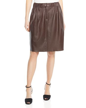 HALSTON HERITAGE - Gathered-Front Leather Skirt