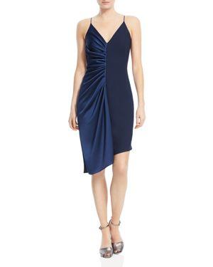 Halston Heritage Asymmetric Combo Slip Dress