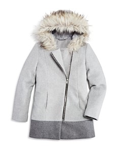 AQUA - Girls' Asymmetrical-Zip Coat with Faux-Fur Trim, Big Kid - 100% Exclusive