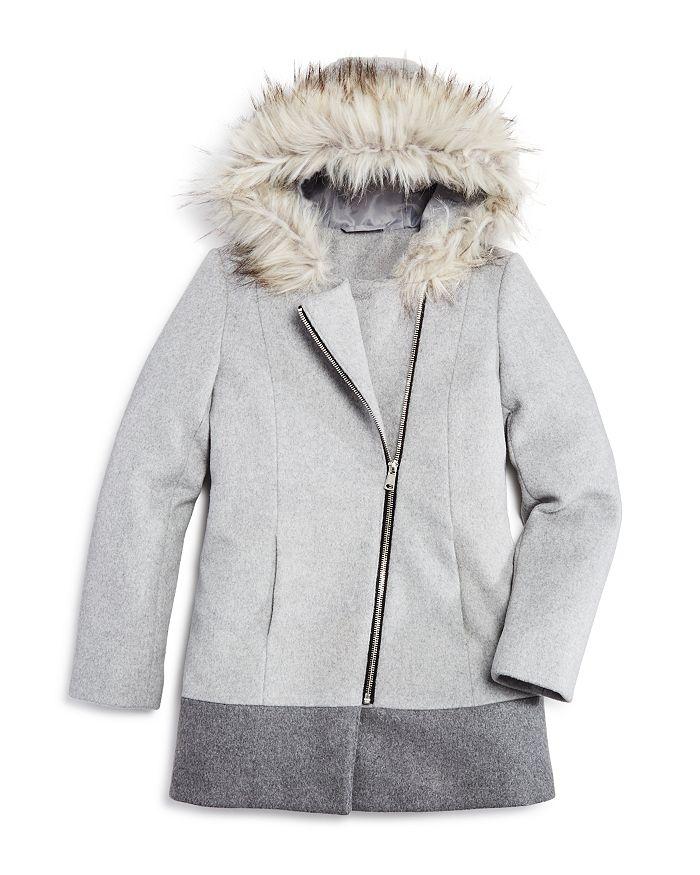 AQUA - Girls' Asymmetrical-Zip Coat with Faux-Fur Trim, Big Kid - 100% Exclusive