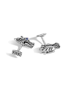 John Hardy Men\\\'s Sterling Silver Legends Naga Cufflinks with Sapphire Eyes-Jewelry & Accessories