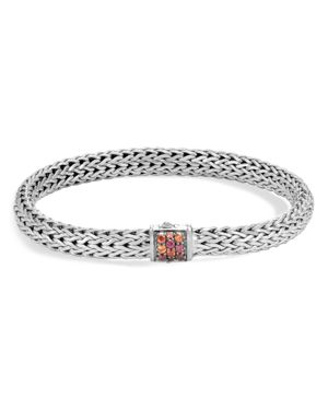 John Hardy Sterling Silver Classic Chain Lava Small Bracelet with Garnet