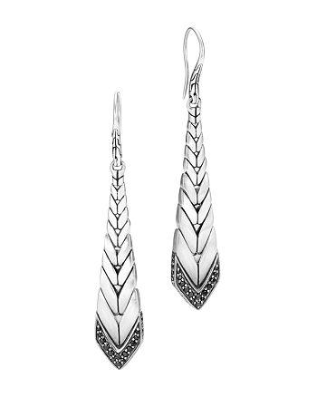 JOHN HARDY - Brushed Sterling Silver Modern Chain Black Sapphire & Black Spinel Drop Earrings