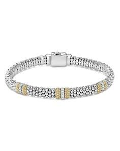 LAGOS - 18K Gold & Sterling Silver Diamond Lux Three Station Bracelet, 6mm