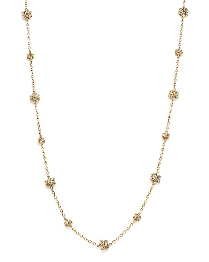 """Temple St. Clair - 18K Yellow Gold Royal Blue Moonstone Trio Necklace with Pavé Diamonds, 32"""""""