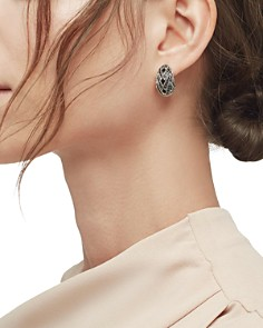 JOHN HARDY - Sterling Silver Classic Chain Buddha Belly Earrings with Black Sapphire & Black Spinel