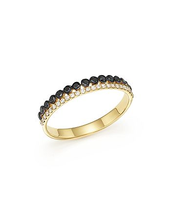 Bloomingdale's - White & Black Diamond Band in 14K Yellow Gold - 100% Exclusive