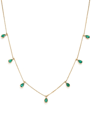 Bloomingdale's Emerald Teardrop Charm Necklace in 14K Yellow Gold, 1.73 ct. t.w. - 100% Exclusive