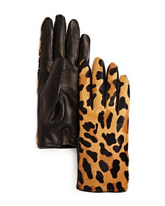 Bloomingdale's Leopard Cashmere & Calf Hair Gloves - 100% Exclusive_0