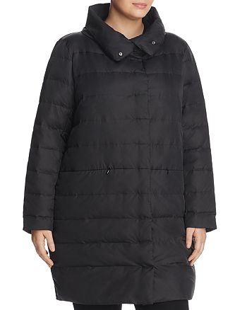 Eileen Fisher Plus - Funnel Neck Quilted Puffer Coat