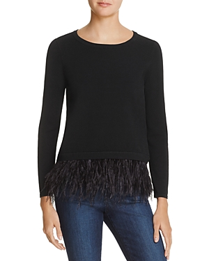 Milly Feather-Hem Sweater