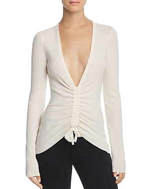 T by Alexander Wang Ruched Wool Top