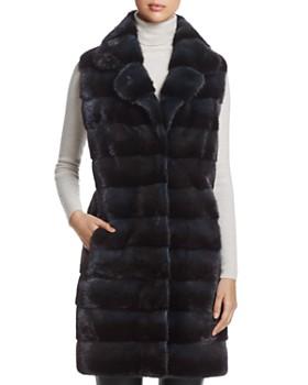 Maximilian Furs - Notch Collar Long Kopenhagen Mink Vest