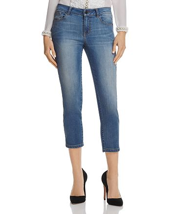 Alice and Olivia - Jane Chain-Detail Cropped Jeans in Vintage Wash