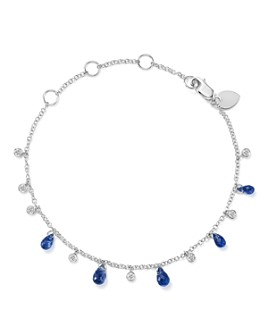 Meira T - 14K White Gold Blue Kyanite Briolette & Diamond Bracelet