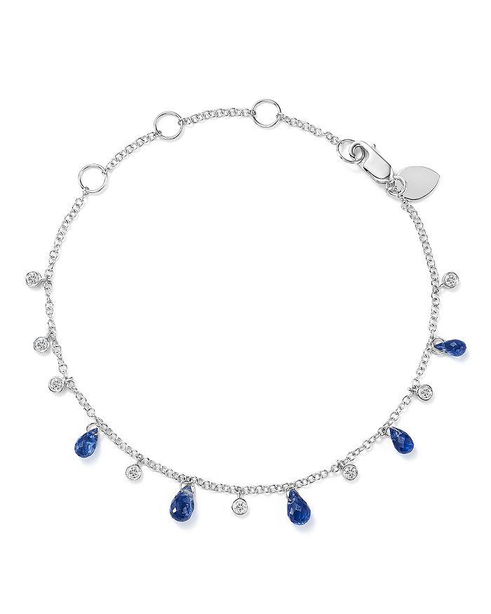 Meira T - 14K White Gold Blue Kyanite Briolette & Diamond Bracelet