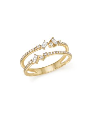 Kc Designs 14K Yellow Gold Mosaic Diamond Double Bar Ring