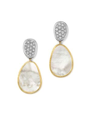 Marco Bicego 18K White & Yellow Gold Lunaria Mother-Of-Pearl Diamond Double Drop Earrings