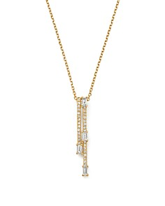 "KC Designs - 14K Yellow Gold Mosaic Diamond Double Bar Necklace, 15"""