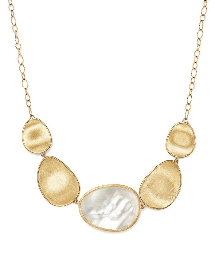 Marco Bicego 18K Yellow Gold Lunaria Mother-Of-Pearl Collar Necklace, 17 In White Mother Of Pearl